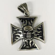 Edelstahlanhänger - Eisernes Kreuz mit Totenkopf